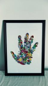 3D obrázok z papierových prúžkov (quilling) - dlaň, ruka