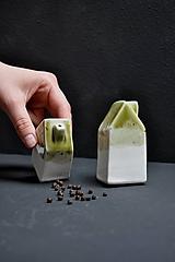 Nádoby - soľnička korenička set  dom zelený - 12028537_