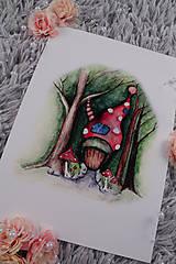Obrazy - ART print Domček v lese - 12028543_
