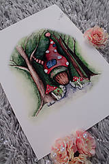 Obrazy - ART print Domček v lese - 12028551_