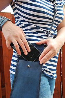 Kabelky - Kožená kabelka na mobil - 12027144_