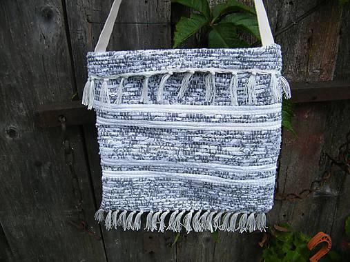 Tkaná taška bielo-sivá 1