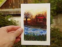 pohľadnica: domček pri jazere