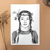 Obrazy - Anna ze Zeleného domu - kresba, A4 - 12032502_