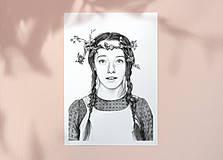 Obrazy - Anna ze Zeleného domu - kresba, A4 - 12032503_