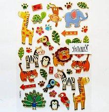 Papier - Samolepky, zvieratá, zoo, slon, páv, lev, tučniak - 12031470_