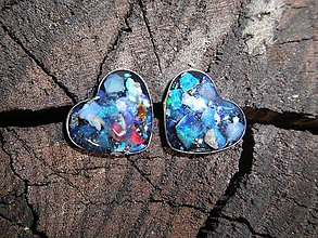 Náušnice - opals hearts in silver - 12031075_