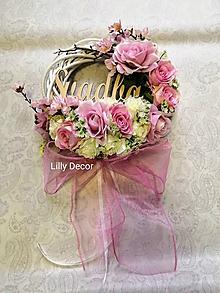 Dekorácie - Svadobný venček na dvere púdrovo ružový - 12033380_