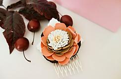Ozdoby do vlasov - Hrebienok do vlasov Hnedý kvet - 12033397_