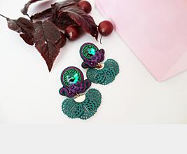 Náušnice - Zeleno-fialové náušnice - 12033392_
