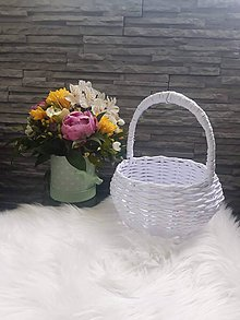 Košíky - Svadobný košík guľatý - 12032691_