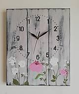 Hodiny - Nástenné hodinky - ružičky - 12035012_