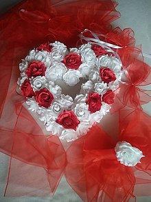 Pierka - výzdoba svadobného auta bielo.červená - 12034982_