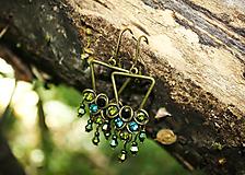 Náušnice - Štrasové zelené náušnice - 12036613_