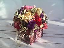 Dekorácie - Prírodná kvetinová krabička ... so sušenými  kvietkami ... - 12036601_