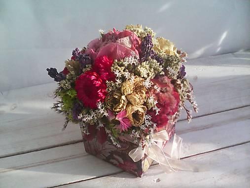 Prírodná kvetinová krabička ... so sušenými  kvietkami ...