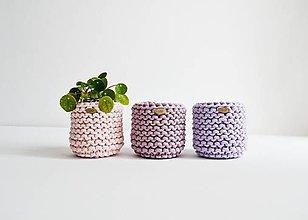 Košíky - Pletený košík/kvetináčik - fialová/ružová - 12035091_