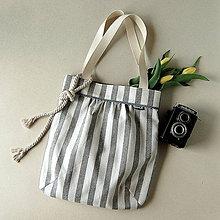 Nákupné tašky - Shopper - Režná s modrošedými pruhmi - 12034539_