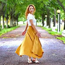Sukne - MILENA - ľanová maxi zavinovacia sukňa - 12036703_