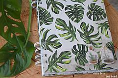 Papiernictvo - Zápisník (botanical, monstera) - 12036570_