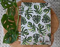 Papiernictvo - Zápisník (botanical, monstera) - 12036572_