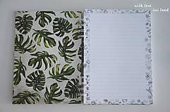 Papiernictvo - Zápisník (botanical, monstera) - 12036573_