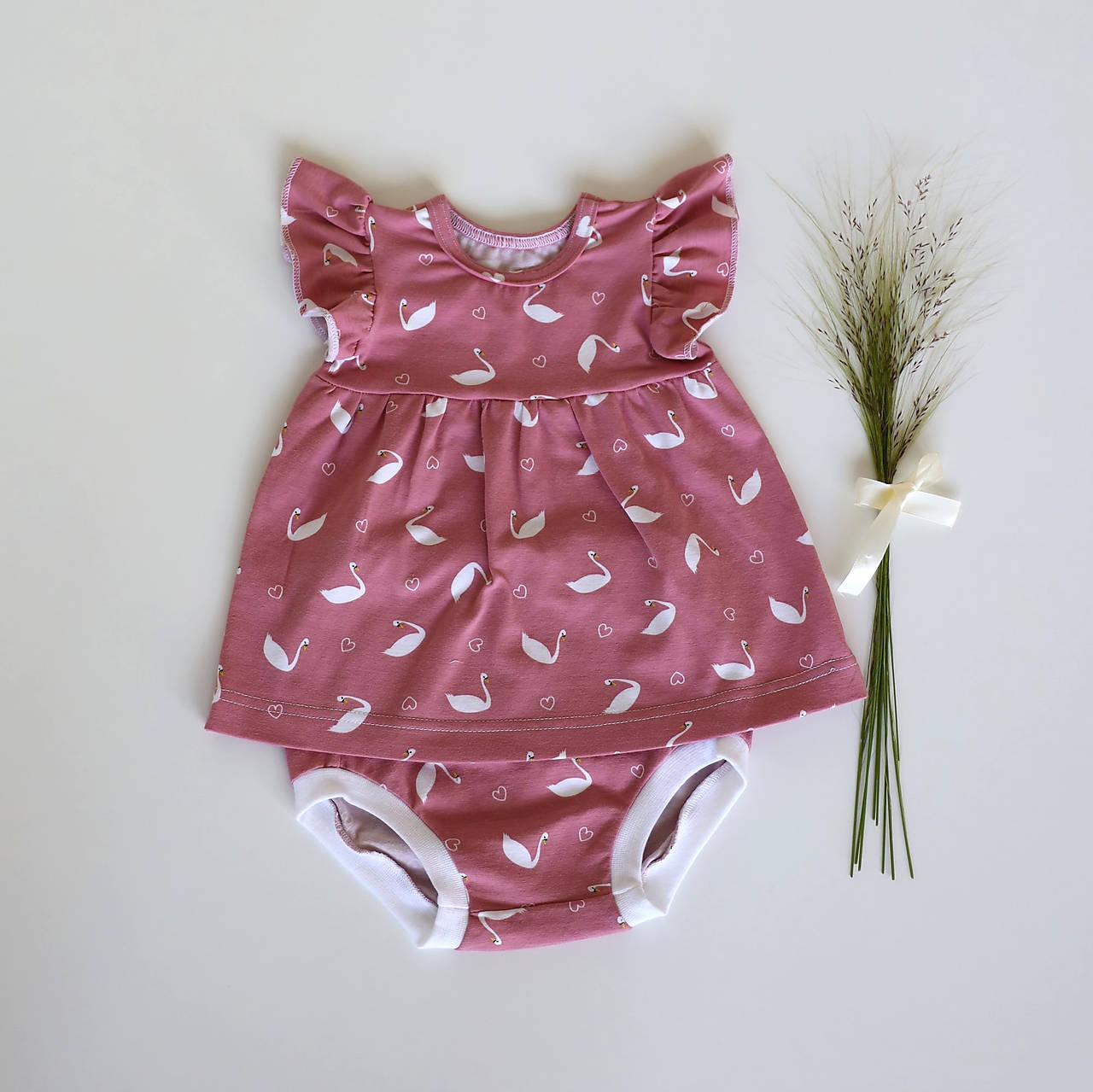 Detské oblečenie - Ružové šatôčky s labuťkami - 12035297_