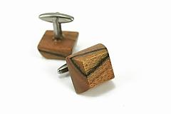 Šperky - Manžetové gombíky drevené čokokocky - orechové drevo, nerez - 12036488_