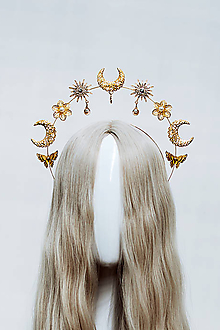 Ozdoby do vlasov - Zlatá Halo crown s mušličkami - 12034643_
