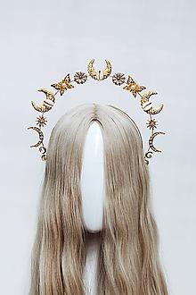 Ozdoby do vlasov - Zlatá Halo crown s mušličkami - 12034649_