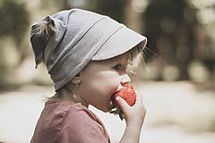 Detské čiapky - Letná pružná šatka sivá - 12036739_