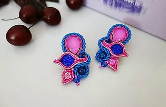 Náušnice - Modro-ružové náušnice - 12035010_