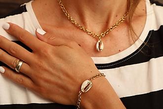 Sady šperkov - Súprava náramok a retiazka s mušľou - 12036474_