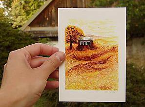 Papiernictvo - pohľadnica: domček a suchá tráva - 12038011_