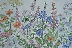 Textil - Látka Lúčne kvety bordúra - 12037201_