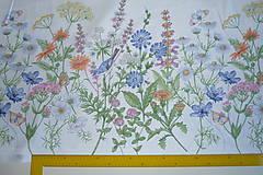 Textil - Látka Lúčne kvety bordúra - 12037202_