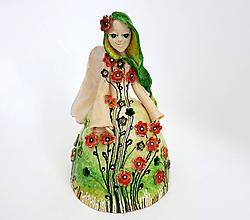 """Dekorácie - """"Rozkvitnutá zelená"""" - maľovaný zvonec  - 12038554_"""