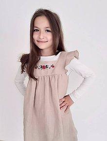Detské oblečenie - ľanové šatičky s výšivkou - 12039853_