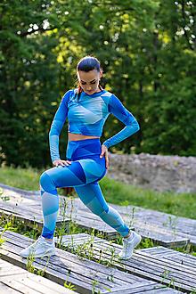Iné oblečenie - Funkčný set - legíny/crop top s dlhým rukávom - blue triangles - 12037134_