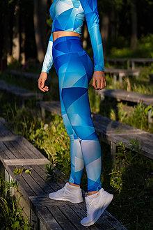 Nohavice - Funkčné legíny - blue triangles - 12037435_