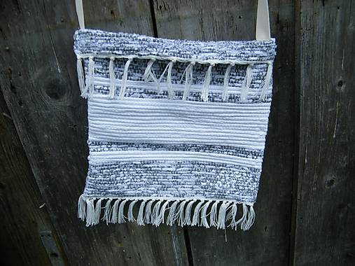 Tkaná taška bielo-sivá 2