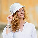 Čiapky - Dámsky ľanový klobúčik - 12042443_