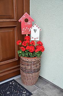 Dekorácie - Zápichy Červené domčeky - 12044817_