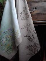 Úžitkový textil - Ľanová utierka, maľovaná, lúčne trávy... - 12043438_