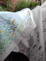 Úžitkový textil - Ľanová utierka, maľovaná, lúčne trávy... - 12043441_