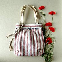 Nákupné tašky - Shopper - Režná so staroružovými  pruhmi - 12042992_