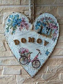 Dekorácie - Dekoračné srdce - DOMOV na bicykli - 12043145_