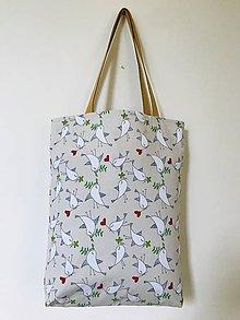 Veľké tašky - Béžová vtáčiky - 12043294_