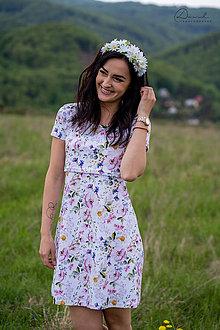 Tehotenské/Na dojčenie - Úpletové šaty na dojčenie - letné kvety - 12043202_
