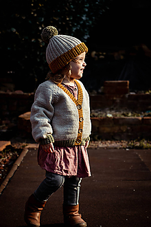 Detské čiapky - Čiapka Pom Pom vo farbe beige/ochre/green - 12043650_